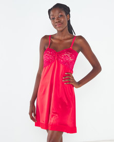 Yarin Amram Camille Short Satin Nightie Red