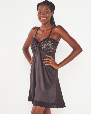 Yarin Amram Camille Short Satin Nightie Black