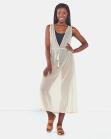 Talooshka Long Mesh Over Dress Stone