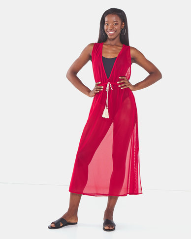 Talooshka Long Mesh Over Dress Red