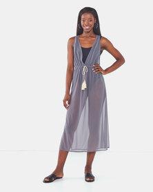 Talooshka Long Mesh Over Dress Grey