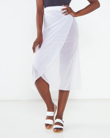 Talooshka Mesh Wrap Over Skirt White