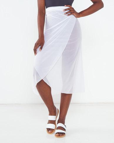 Talooshka Mesh Wrap Over Skirt White