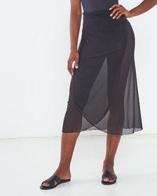 Talooshka Mesh Wrap Over Skirt Black