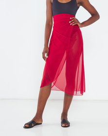 Talooshka Mesh Wrap Over Skirt Red