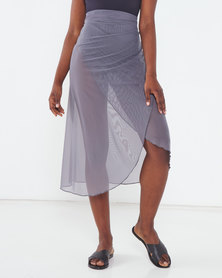 Talooshka Mesh Wrap Over Skirt Grey