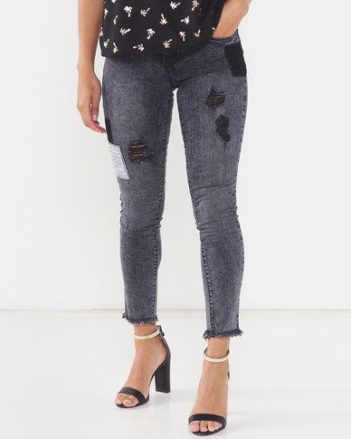 Legit Ladder Hem Patch Skinny Jeans Black Acid