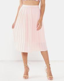 Legit Pleated Midi Skirt Blush
