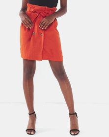 Legit Double Button A-Line Skirt Rust
