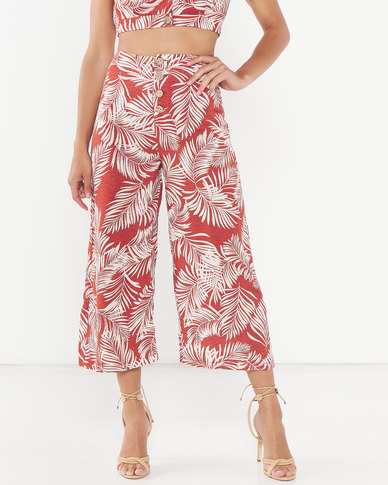 Legit Button Palm Culottes Multi