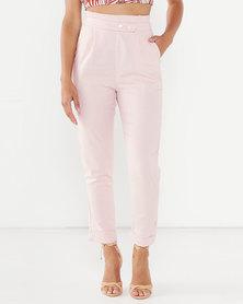 Legit Paperbag Linen Slim Leg Pants Blush