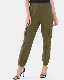 Brave Soul Cargo Pants With Pockets Khaki