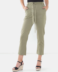 Brave Soul Trousers With Belt Khaki