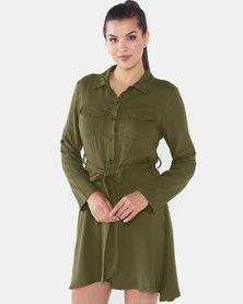 Brave Soul Shirt Dress With Pockets Khaki