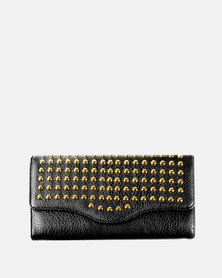 Parco Collection Trifold Purse with Studs - Black