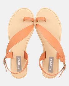 Utopia Leather Assymetric Sandals Orange