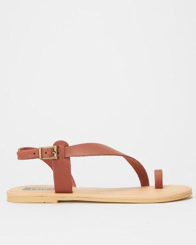 Utopia Leather Assymetric Sandal Brown