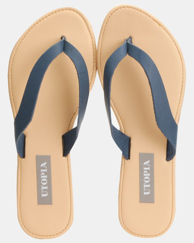 Utopia Leather Thong sandals Navy