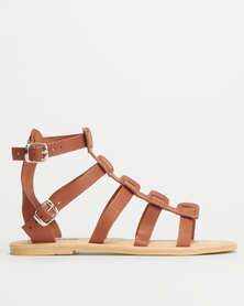Utopia Leather Gladiator Sandals Tan