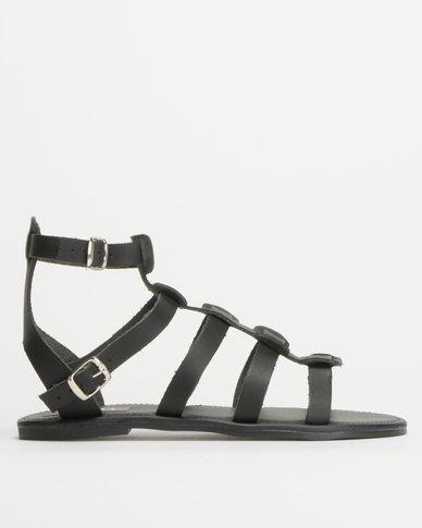 Utopia Leather Gladiator Sandals Black
