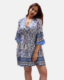 SKA Flower Flared Dress Blue