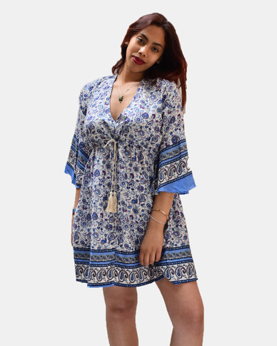 SKA Flower Flared Dress Blue
