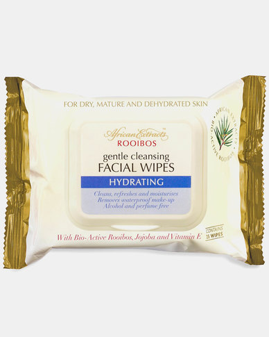 African Extracts Cleansing Facial Wipes Hydrating 25s