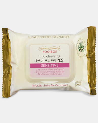 African Extracts Cleansing Facial Wipes Sensitive 25s