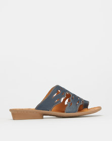 Tsonga Leather Slip On Sandals Denim