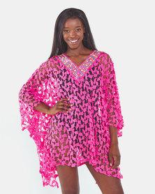 UB Creative Short Lace Kaftan Pink