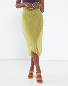 Talooshka Mesh Wrap Over Skirt Green