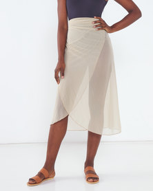Talooshka Mesh Wrap Over Skirt Stone