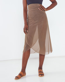 Talooshka Mesh Wrap Over Skirt Taupe