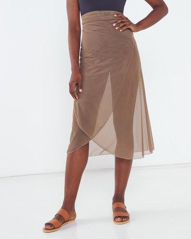 Talooshka Mesh Wrap Over Skirt Taupe