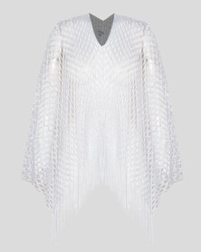 Queenspark Glam Poncho White