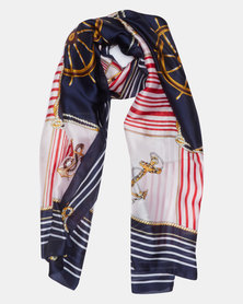 Queenspark Nautical Design Poly Satin Scarf Red Multi