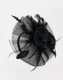 Queenspark Feather Trim Fascinator Black