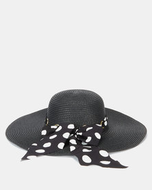Queenspark Straw Hat With Spot Scarf Trim Black