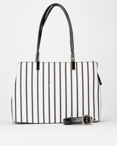 Queenspark Vertical Striped Bag Black/White