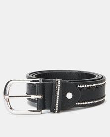 Queenspark Fine Diamante Trim Belt Black