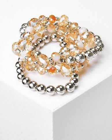 Queenspark 4 Row Gold Crystal Wristwear Silver/Colour