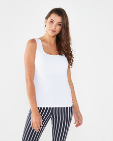 Queenspark Formal Core Knit Cami White