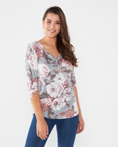 Queenspark Big Floral Print Knit Top Sage