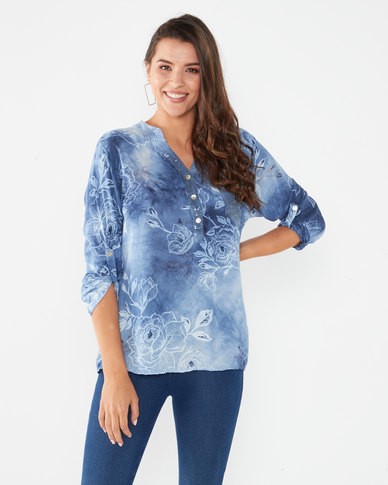 Queenspark Floral Printed Woven Roll Up Sleeve Shirt Blue