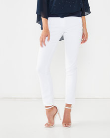 Queenspark Zip Detail Sateen Woven Trousers White