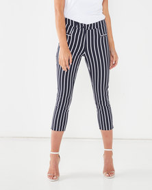 Queenspark Striped Woven Capri Trousers Navy