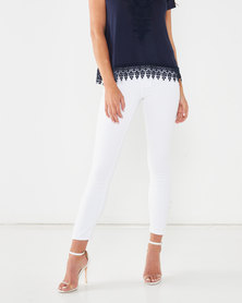Queenspark Pearl Hem Detail 7/8 Denim Jeans White