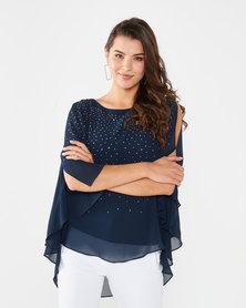 Queenspark Floaty Glam Woven Blouse Navy