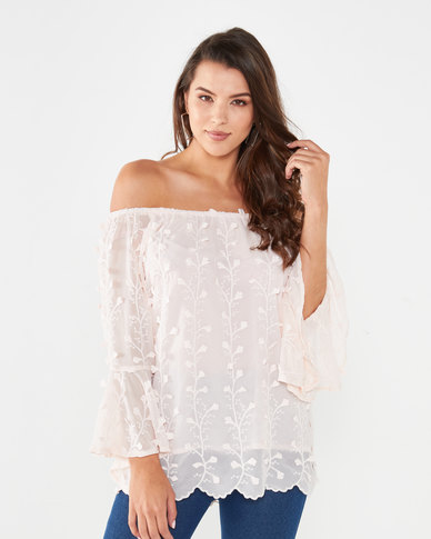 Queenspark Flute Sleeve Marilyn Woven Blouse Pink