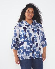 Queenspark Plus Collection New Spot Woven Ghost Pintuck Shirt Blue